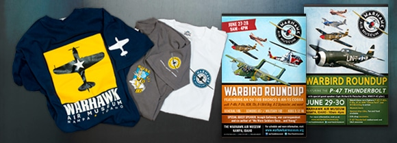 T-shirts and posters for the Warhawk Air Museum
