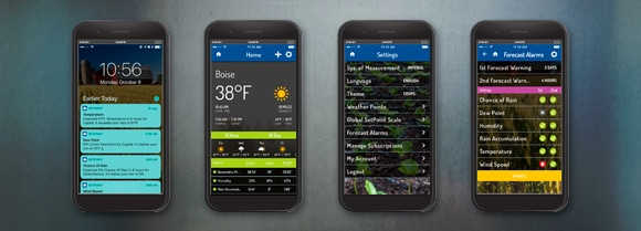 Screenshots of app designs for SetPoint Agriculture