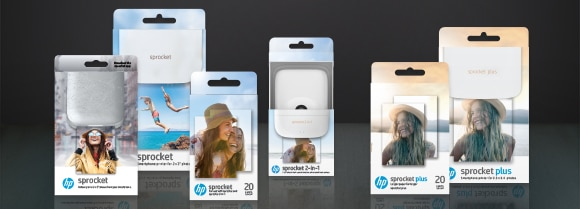 HP Sprocket printer and paper packaging